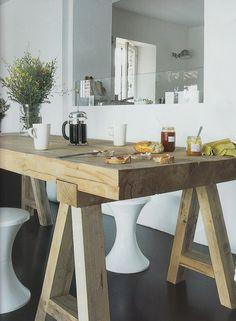 Love the chunky wood table