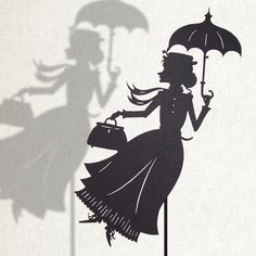 Mary Poppins / Laser-cut Shadow Puppet by IsabellasArt on Etsy