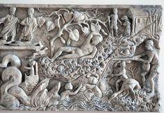 ***Sarcófago de Jonás (mitad derecha), S.III. Roma, Museo de Letrán. Endimión, el amado de Selene, será equiparado por el cristianismo con Jonás, aludiendo a la inmortalidad del alma.