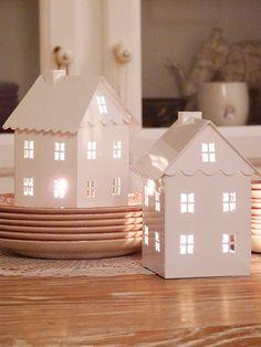 little ceramic light-up houses