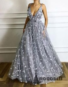 Deep V-Neck Long Prom Dresses Flowers Grey Evening Dresses A-Line Formal Dresses,HS532 #fashion#promdress#eveningdress#promgowns#cocktaildress