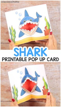 Shark Pop Up Card - Easy Peasy And Fun inside Printable Pop Up Card Templates Free - Best Professional Templates Diy Crafts For Kids, Fun Crafts, Art For Kids, Paper Crafts, Cork Crafts, Wooden Crafts, Resin Crafts, Summer Crafts, Shark Week Crafts