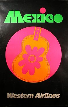 Hung Up On Retro: Retro Airline Posters ( vintage advertisement / psychedelic / guitar / pink / air travel / western airlines )