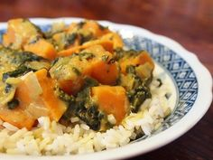 Curried Sweet Potatoes with Spinach