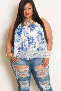 Final Sale Plus Size Floral Top with Spaghetti Straps Light Blue & White Plus Size Fashion For Women, Plus Size Womens Clothing, Clothes For Women, Size Clothing, Curvy Outfits, Fashion Outfits, Fashion Trends, Fashion Boots, Fashion Ideas