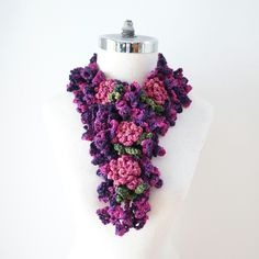 Peony Scarf in a Purple and Pink handpainted Merino Wool, Neck warmer, Crochet Scarf, Rose Scarf by ValerieBaberDesigns on Etsy