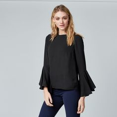 Warehouse, BUTTON BACK FLUTED SLEEVE TOP Black 1