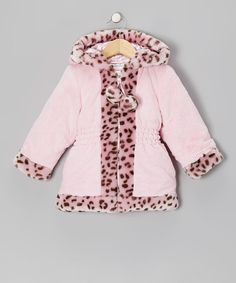 Pink Leopard Faux Fur & Satin Swing Coat - Infant & Toddler