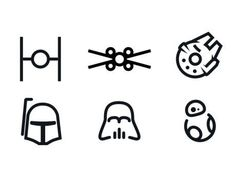 A set of Star Wars minimal icons.                              …