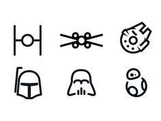 A set of Star Wars minimal icons.                              …
