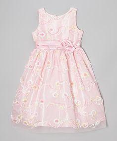 Look what I found on #zulily! Jayne Copeland Light Pink Sequin Soutache A-Line Dress - Girls by Jayne Copeland #zulilyfinds