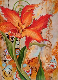 Yellow And Red Parrot Tulip Original Painting With Handcrafted Frame