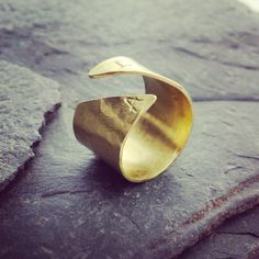 Wide Gold Initial Ring  Open Cuff Ring // by MerCurios on Etsy