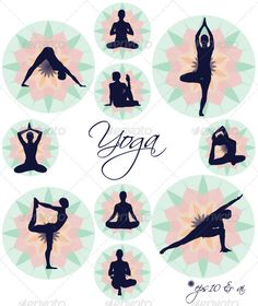 http://graphicriver.net?ref=snja      Yoga Icons - Vector Illustration Set