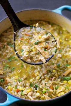 This bold & flavorful chicken and hatch chile stew is ready to go in just 1 hour! It's loaded with shredded chicken, fresh corn, rice and of course, hatch chiles! (Chicken And Rice Stew) Green Chili Recipes, Mexican Food Recipes, Dinner Recipes, Hatch Green Chili Recipe, Fresh Corn Recipes, Potato Recipes, Planning Menu, Chicken Flavors, Recipe Chicken