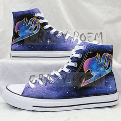 Fairy Tail Anime Shoes with Galaxy Background Hand Painted Shoes Black Canvas Sneakers Custom Shoes for Men and Women,US from CrazyPoem on Etsy. Got Anime, Manga Anime, Nalu, Fairytail, Custom Anime, Shoes Oxford, Choses Cool, Steve Madden, Shoes 2018