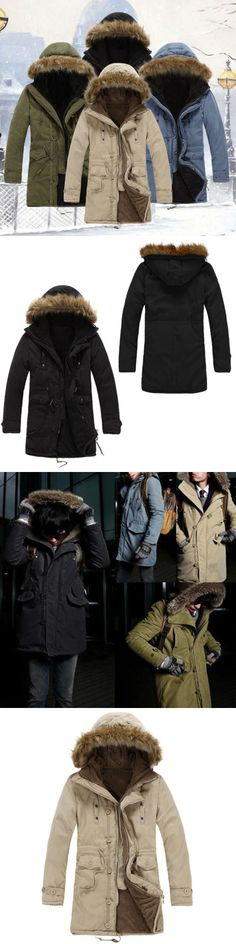 Men Coats And Jackets: Winter Men S Cotton Down Coat Jacket Casual Fur Collar Hooded Warm Outwear -> BUY IT NOW ONLY: $30.39 on eBay!