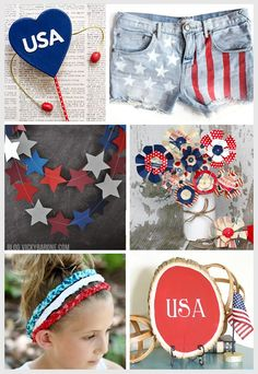 Last minute DIY crafts for the 4th of July  | Vicky Barone | american flag shorts, star garland, noise makers for kids, paper flowers, braided no sew headband, usa decor