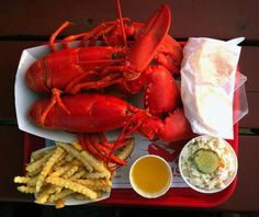 I grew up going to Maine. There was a place called the Lobster Shack that served whole lobsters and fries like this in an old lighthouse. LOVE