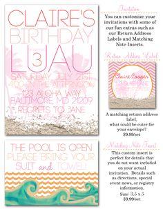 Luau Party Invites, Girl Luau, Birthday Luau, Luau, Birthday Girl, Party Invites via Party Box Design