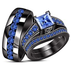His & Her Engagement Ring Trio Set Blue Sapphire Black Gold Over 925 Silver Wedding Ring For Her, Wedding Rings, Jostens Class Rings, Crown Engagement Ring, Black Gold Jewelry, Nice Jewelry, Bridal Bands, Beautiful Rings, Black Diamond