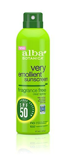 Alba Botanica Very Emollient Fragrance Free Spray Sunscreen SPF 50 6 Ounce ** Details can be found by clicking on the image. (Note:Amazon affiliate link)