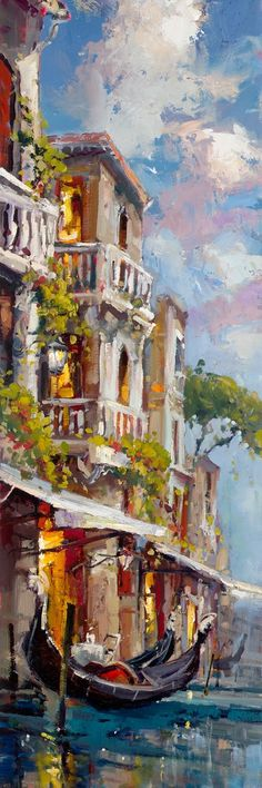 Gondola in Venice (artist: Steve Quartly) City Scene, Traditional Art, Painting Inspiration, Amazing Art, Photo Art, Art Gallery, Illustration Art, Fine Art, Artwork