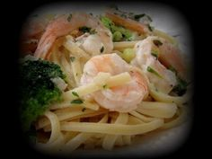 SHRIMP PASTA WITH GARLIC INFUSED OLIVE OIL