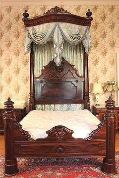Rosewood half tester plantation bed with great detail and carving, all original, attar. to C. Lee, ca. 1850,