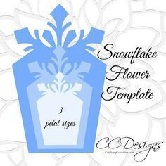 Large Paper Snowflakes Template, DIY Giant Paper Flowers, Christmas Decor Snowflake SVG, Frozen Party Decor - Perfect templates for themed parties or holiday decor! Paper flower printable PDF templates and com - 3d Snowflakes, Christmas Snowflakes, Christmas Crafts, Christmas Decorations, Holiday Decor, Frozen Snowflake, Origami Christmas, Paper Snowflake Template, Flower Template