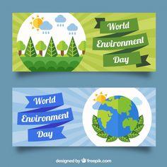 Banners del día mundial del medio ambiente  Vector Gratis