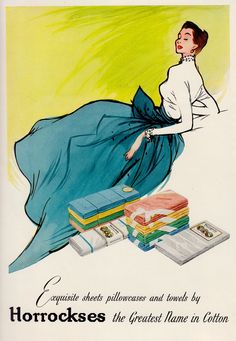 HORROCKSES Cotton textile ad showing fashion illustration. From 'The Ambassador' UK Export mag for the textile industry #10 1958. (minkshmink collection)