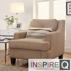 INSPIRE Q Elston Tan Linen Sloped Track Arm Chair | Overstock.com Shopping - Great Deals on INSPIRE Q Chairs