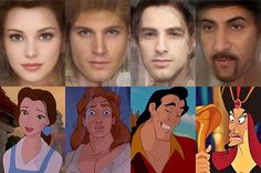 Israeli artist Karen Graw, who works under the name 'Avalonis', has brought to life the characters that have captivated millions of us in these incredible illustrations. (Left to right) Belle, Prince Adam, Gaston, Jafar