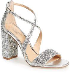 4b000c0d6a296 Badgley Mischka Cook Block Heel Glitter Sandal