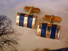 Art Deco Gold Tone SWANK Translucent Blue by dazzledbyvintage