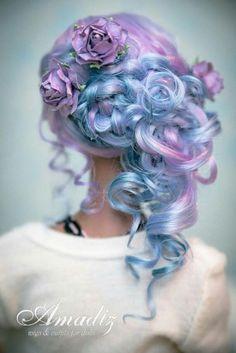 Beautiful cotton candy hair fantasy hair blue and purple hair. Cute Hair Colors, Hair Dye Colors, Cool Hair Color, Purple Hair, Ombre Hair, Purple Rose, Balayage Hair, Rose Gold, Fantasy Hair