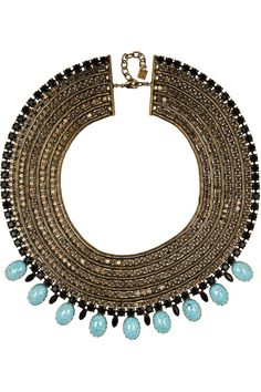 Dannijo brass, crystal and turquoise necklace