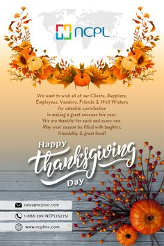 A special greetings from NCPL Inc to express our appreciation for your confidence and trust. We are deeply thankful and extend our best wishes for a happy, safe and healthy USA #Thanksgiving Day to our clients, employees and friends... #thanksgivingday #USA #ncplinc #askncplinc