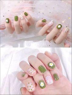 Simple Gel Nails, Soft Nails, Cute Nail Art Designs, Beautiful Nail Designs, Cute Nails, Pretty Nails, Kawaii Nail Art, Asian Nails, Korean Nail Art