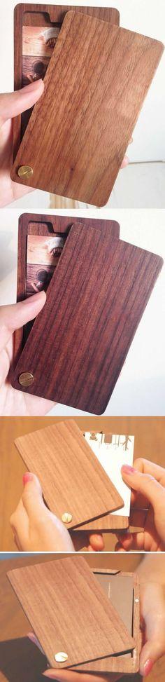 Slim Wooden Business Card Holder Case