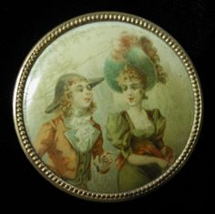 EXCEPTIONAL UNUSUAL LARGE ANTIQUE FOP CELLULOID LITHOGRAPH BUTTON FRENCH COUPLE