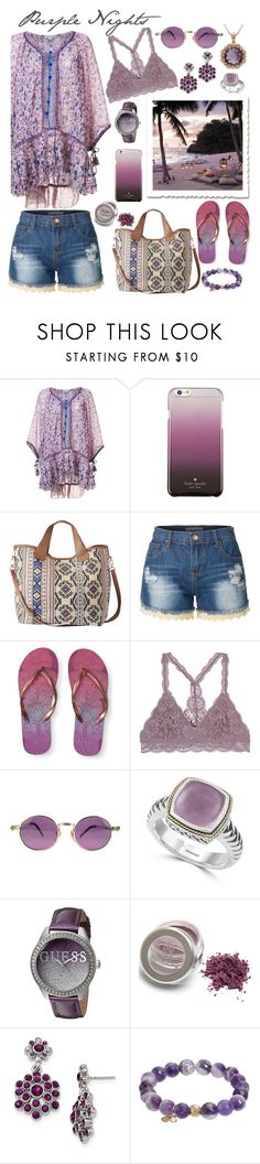 """""""Purple Nights"""" by linmari ❤ liked on Polyvore featuring Poupette St Barth, Kate Spade, LE3NO, Aéropostale, Jean-Paul Gaultier, Effy Jewelry, GUESS, 1928, TFS Jewelry and Lord & Taylor"""