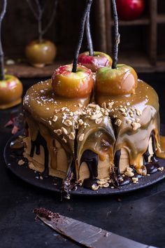 Salted Caramel Apple Snickers Cake