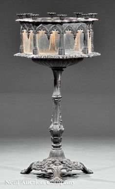 143: Cast Iron Pedestal Wardian Case, attr. J.W. Fiske : Lot 143