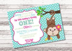 Girls personalized digital sock monkey invitation by girls monkey birthday invitation our little by mylilcupcakeco filmwisefo