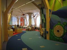 Minneapolis Central Library in Minnetonka, MN (From Reading Rainbows List of Ten Amazing Children's Libraries) Library Themes, Kids Library, Library Room, Dream Library, Library Design, Library Ideas, Library Art, Learning Spaces, Learning Centers