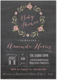 BabyQ Lights Pink Baby Shower Chalkboard Invitations | Girl Baby ...