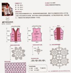 Túnica crochet con centro floral | Crochet y Dos agujas - Patrones de tejido