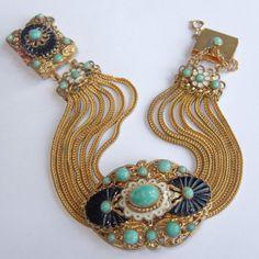 Vtg Art Deco MAX NEIGER Gold Gilt Green Art Glass Enamel Multi Chain Bracelet | eBay